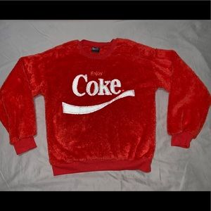 "Coca Cola Fuzzy Sweater ""Enjoy Coke"" long sleeve"